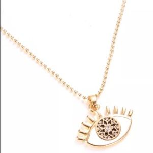 👑GOLD TONE PROTECTION EYE👁PENDANT NECKLACE  NWT